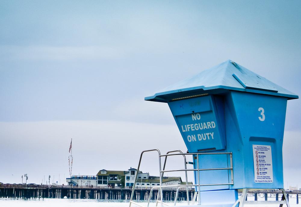 No life guard on duty, Santa Barbara